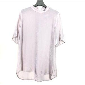 Eileen Fisher Velvet Mock Neck Short-sleeve Top M
